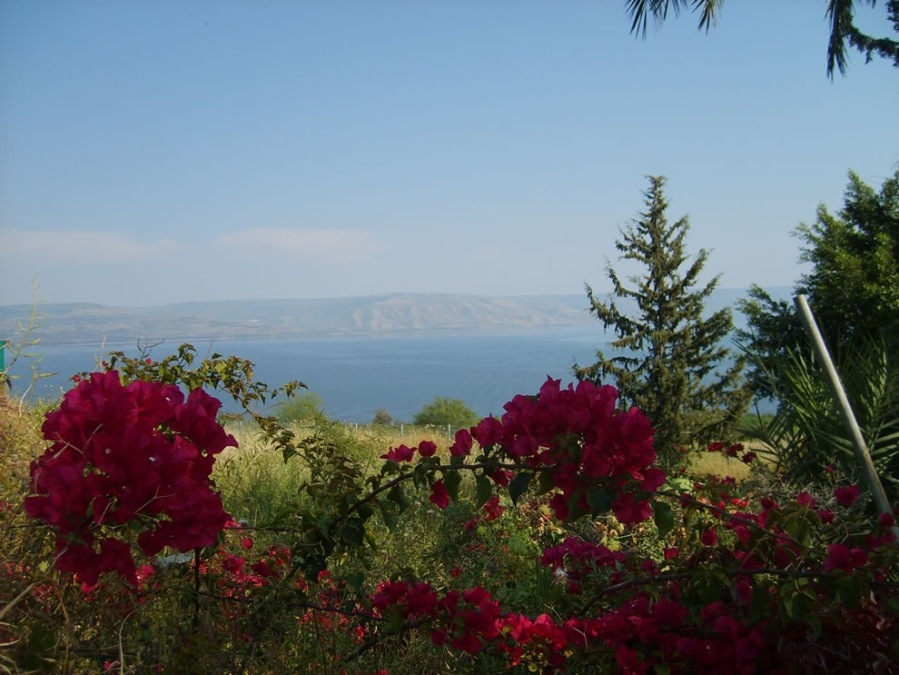 Mount-of-Beatitudes-view-at-the-Sea-of-Galilee-with-the-Golan-heights-at-the-background